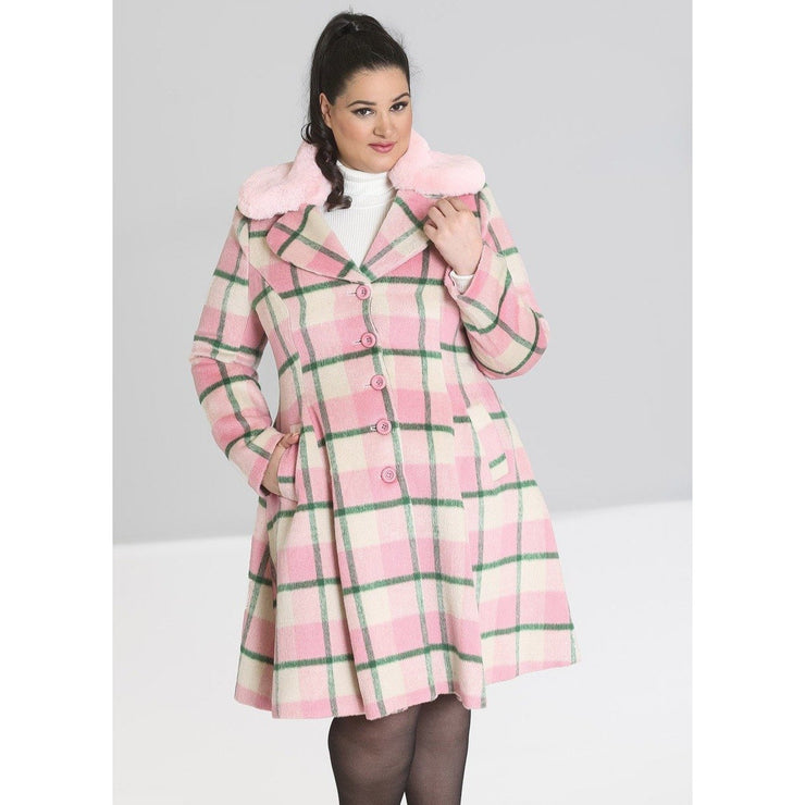 Image of Hell Bunny Millicent Coat - Pink on plus size model - front