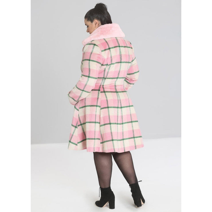 Image of Hell Bunny Millicent Coat - Pink on plus size model - back