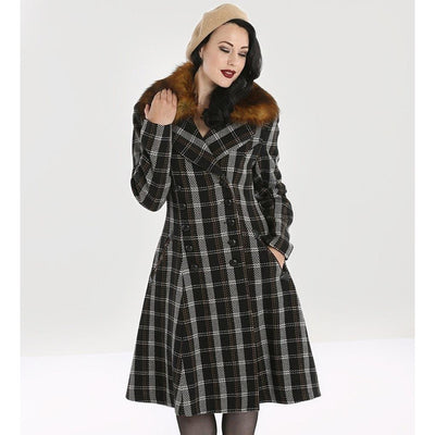 Image of Hell Bunny Brooklyn Tartan Coat on standard model - front