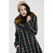 Image of Hell Bunny Brooklyn Tartan Coat on standard model - cropped