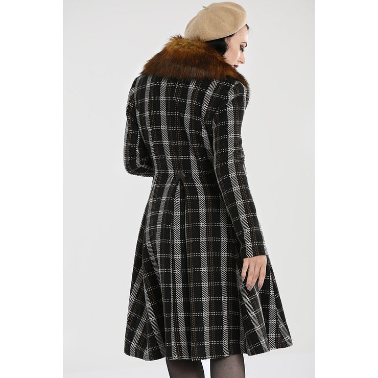 Image of Hell Bunny Brooklyn Tartan Coat on standard model - back