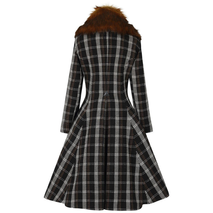 Image of Hell Bunny Brooklyn Tartan Coat on invisible mannequin - back