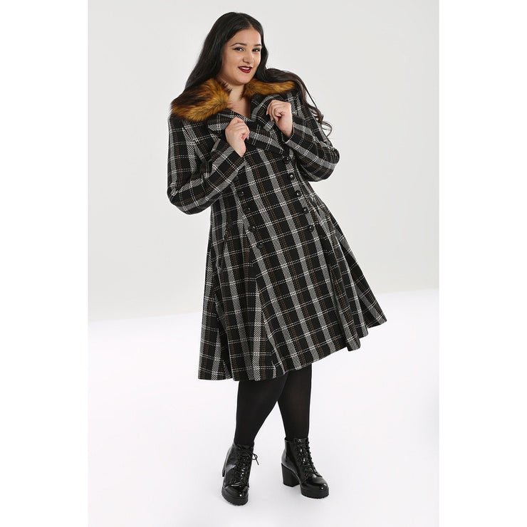 Image of Hell Bunny Brooklyn Tartan Coat on plus model - front