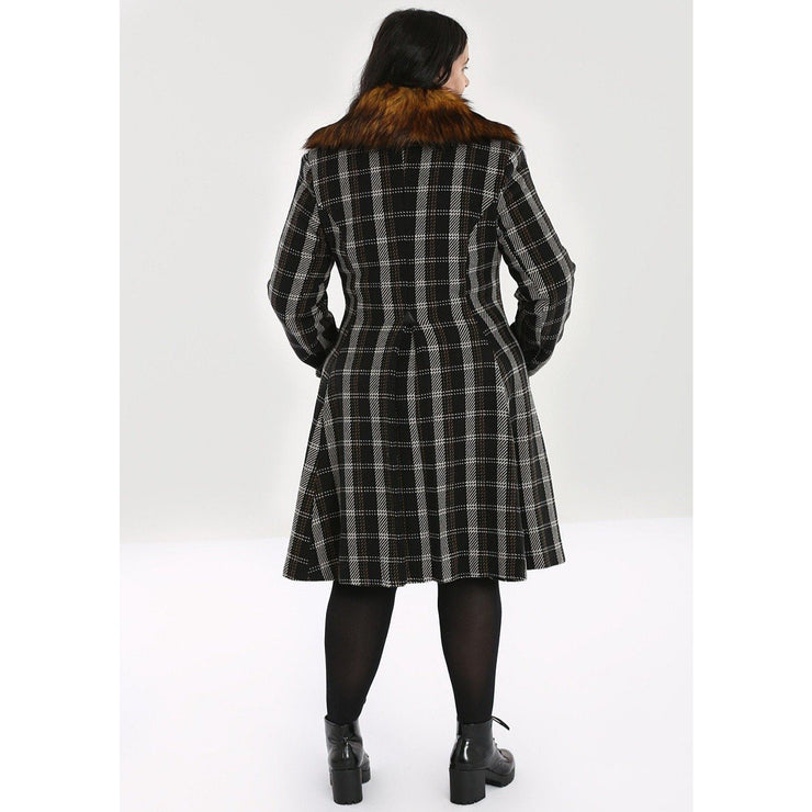 Image of Hell Bunny Brooklyn Tartan Coat on plus model - back