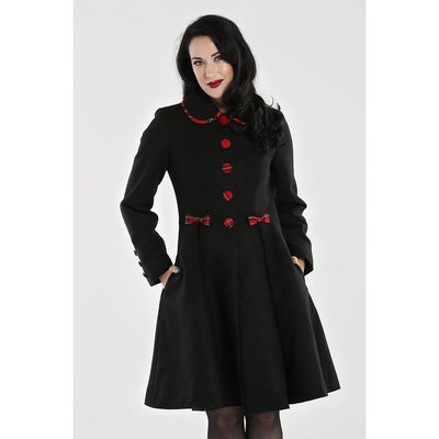 Image of Hell Bunny Tiddlywinks Coat - Black on standard model - cropped