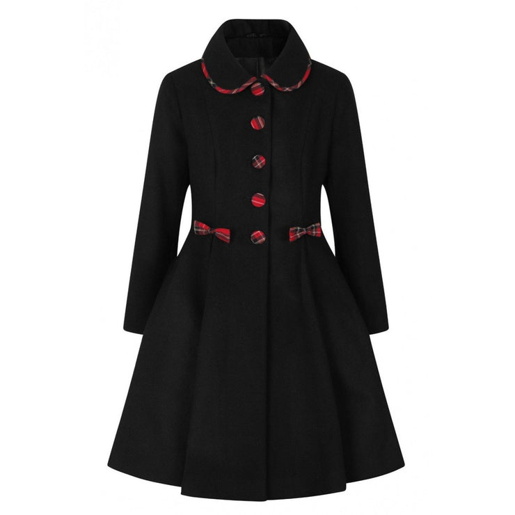 Image of Hell Bunny Tiddlywinks Coat - Black on invisible mannequin - front