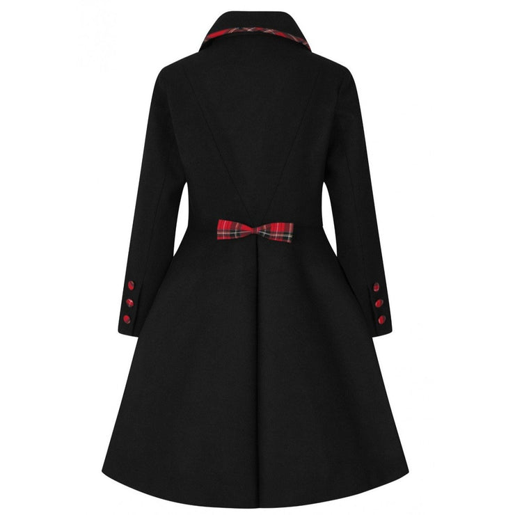 Image of Hell Bunny Tiddlywinks Coat - Black on invisible mannequin - back