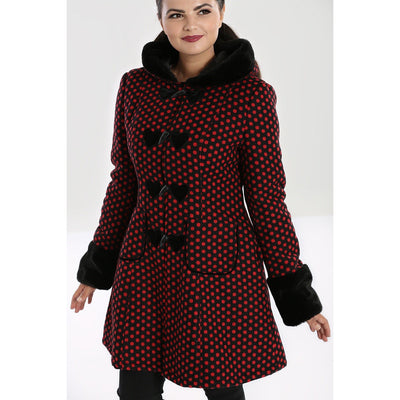 Image of Hell Bunny Amelia Coat - Black/Red on standard model - cropped