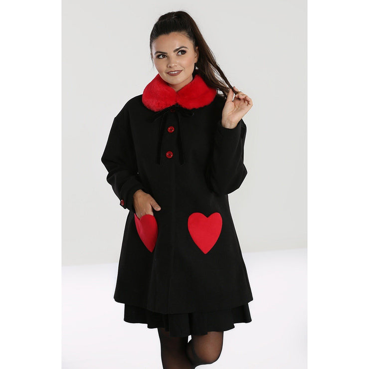 Image of Hell Bunny Corazon Coat - Black/Red on standard model - cropped