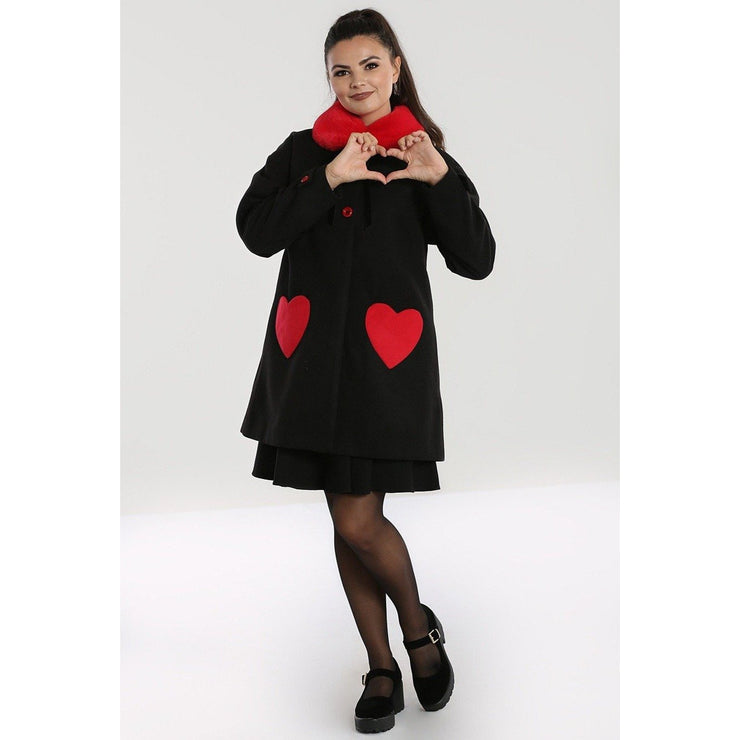 Image of Hell Bunny Corazon Coat - Black/Red on standard model - front