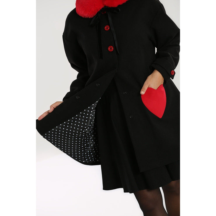 Image of Hell Bunny Corazon Coat - Black/Red on invisible mannequin - front