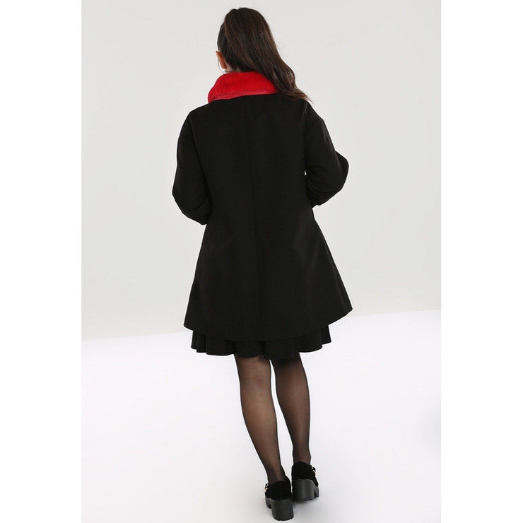 Image of Hell Bunny Corazon Coat - Black/Red on standard model - back