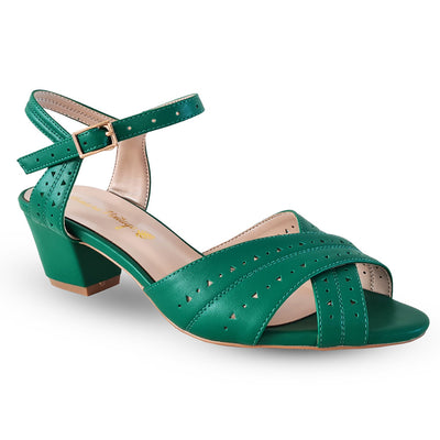 Honiara Vintage Gizo Heels - Green - side angle view