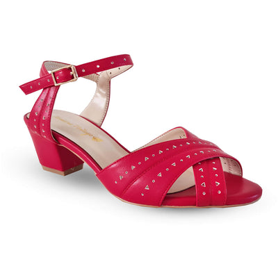 Honiara Vintage Gizo Heels - Red - side angle