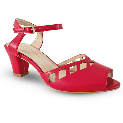 Honiara Vintage Shoes Makira Heels - Red - side angle view