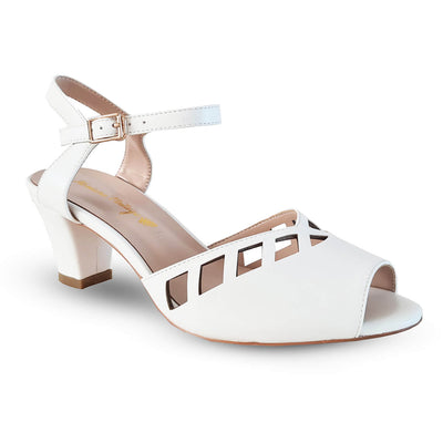 Honiara Vintage Shoes Makira Heels - White - side angle