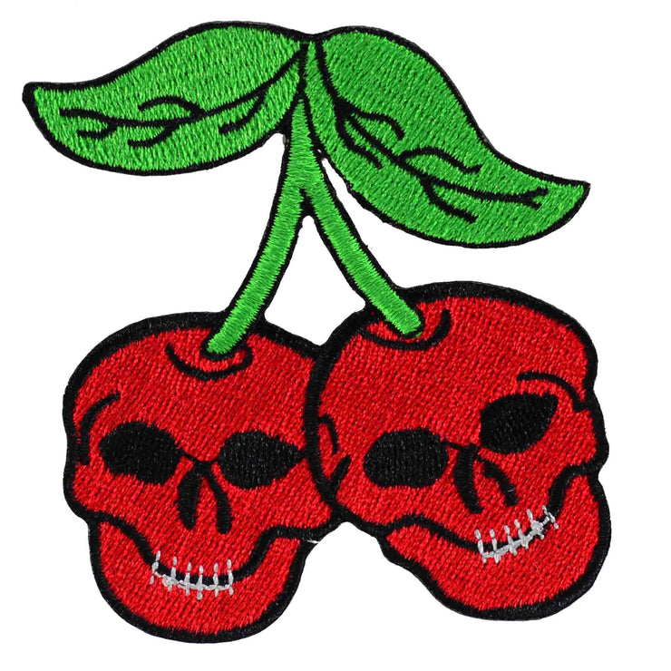 Cherry Skull Iron On Patch