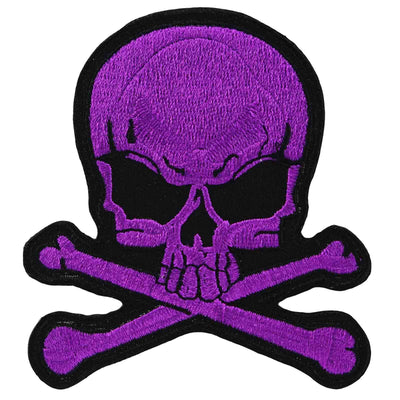 Image of Skull & Crossbones Iron On Patch - Purple