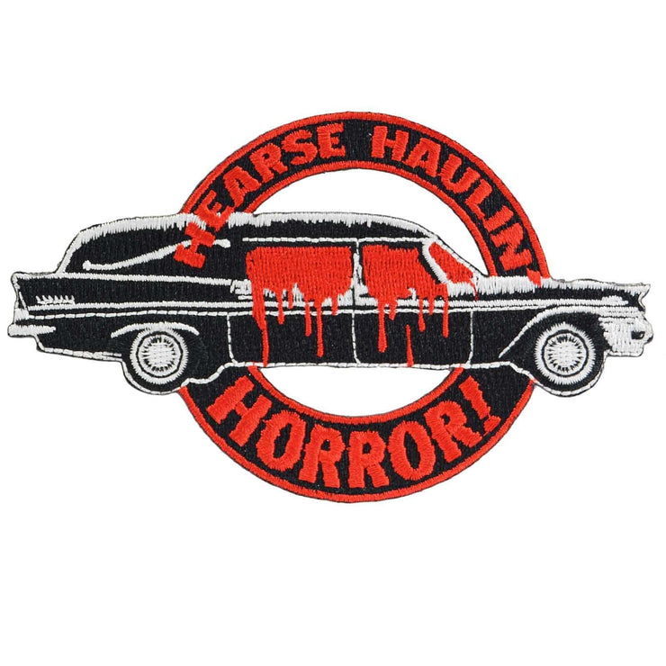 Image of Kreepsville 666 Hearse Haulin Horror Iron On Patch