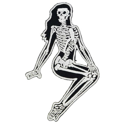 Image of Kreepsville 666 Skeleton Girl Sitting Iron On Patch