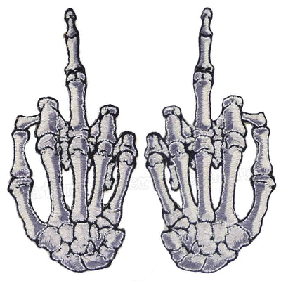 Image of Kreepsville 666 Skeleton Hand Finger Patch (Set of Two) - White