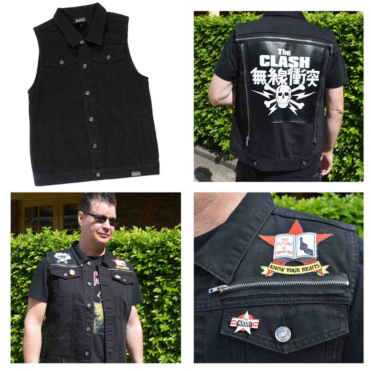 Image of Kustom Kreeps Men's Denim Vest - Black
