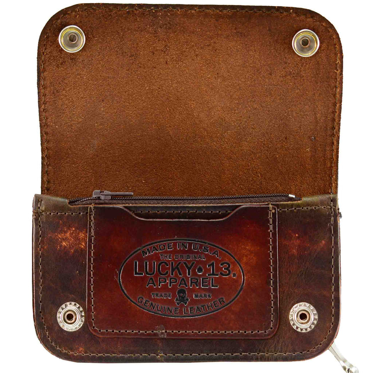 Lucky 13 Aloha Leather Wallet open inside image