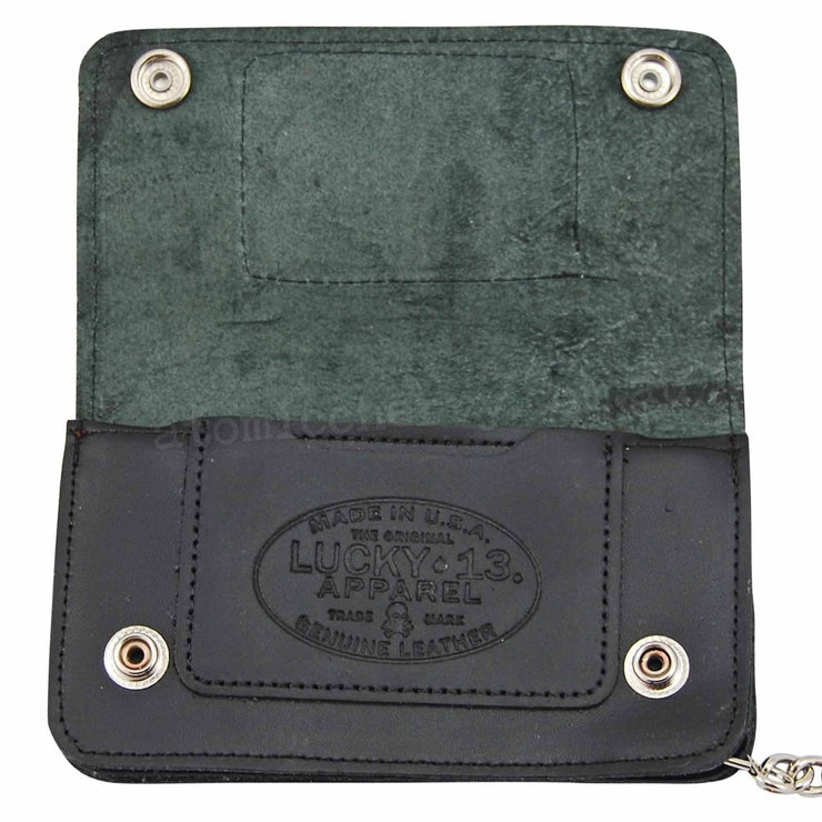Image of Lucky 13 Skull & Stars Logo Chain Wallet