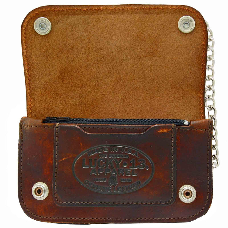 Image of Lucky 13 Death Or Glory Embossed Leather Chain Wallet - Brown