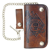 Image of Lucky 13 No Riders Embossed Leather Chain Wallet - Brown
