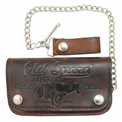 Image of Lucky 13 Old Speed Embossed Leather Chain Wallet - Brown