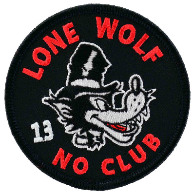 Lucky 13 Lone Wolf No Club Iron On Patch