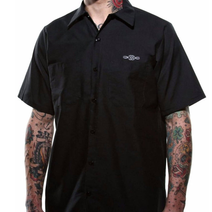 Lucky 13 Dragger Tow Truck Retro Work Shirt model front