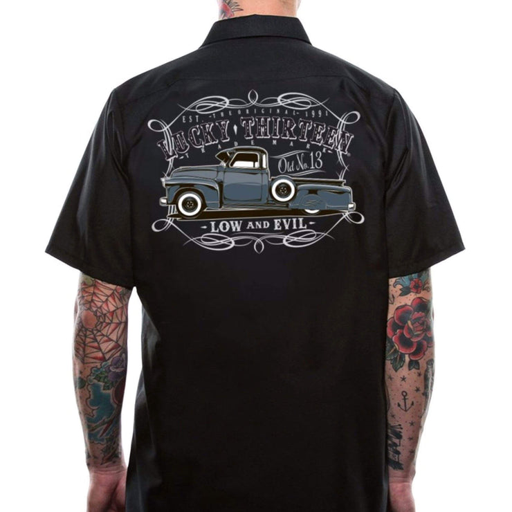 Lucky 13 Dragger Tow Truck Retro Work Shirt model back
