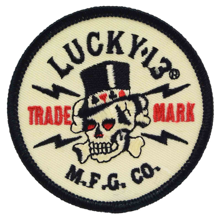 Image of Lucky 13 Old Topper Skull Iron On Patch