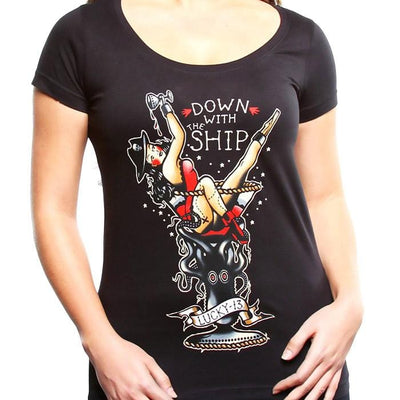 Image of Lucky 13 Women's T-Shirt - Down With The Ship Scoop Neck