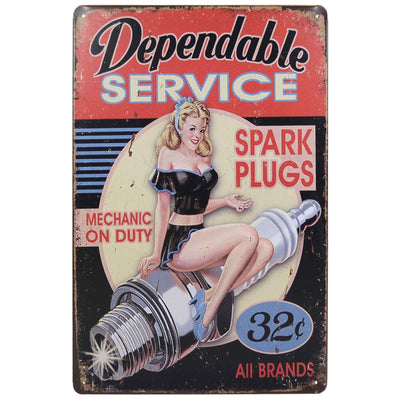 Image of Retro Metal Sign - Dependable Service