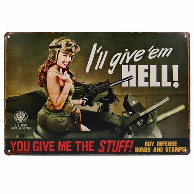 Image of Retro Metal Sign - Give Em Hell