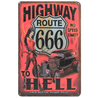 Image of Retro Metal Sign - Highway To Hell Route 666