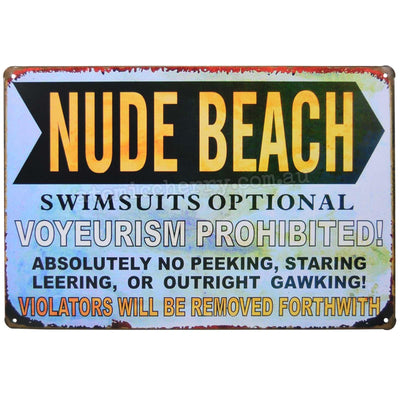 Image of Retro Metal Sign - Nude Beach