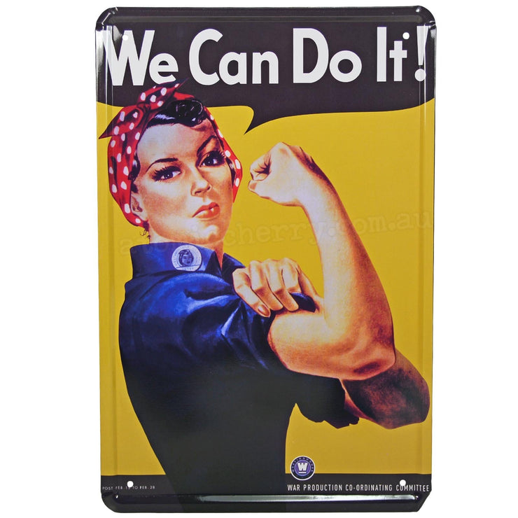 Image of Retro Metal Sign - Rosie The Riveter