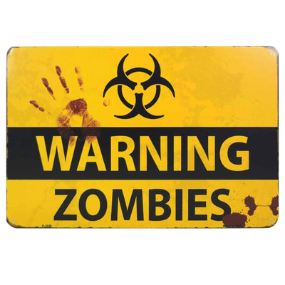 Image of Retro Metal Sign - Warning Zombies