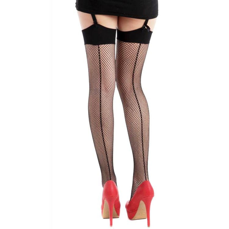 Image of Fishnet Seamed Stockings - Black/Black