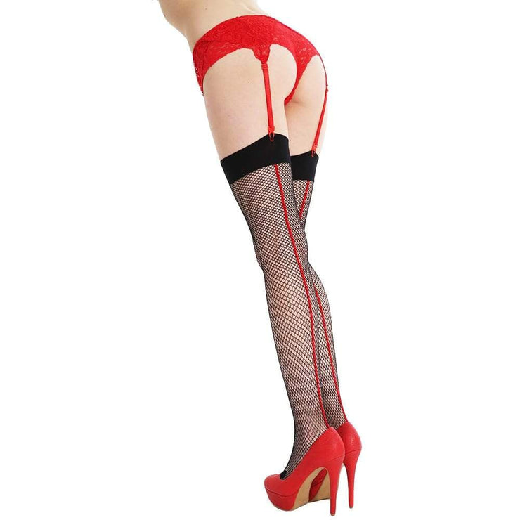 Image of Fishnet Seamed Stockings - Black/Red
