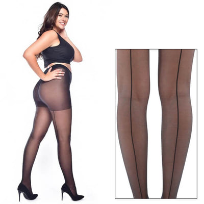 Image of Model wearing Sheer Seamed Tights - Super Stretch Curvy - Black/Black