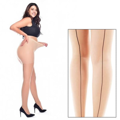 Image of Sheer Seamed Tights - Super Stretch Curvy - Natural/Black