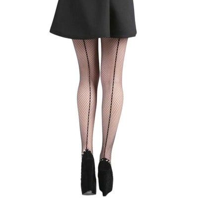 Image of Fishnet Seamed Tights - Black/Black