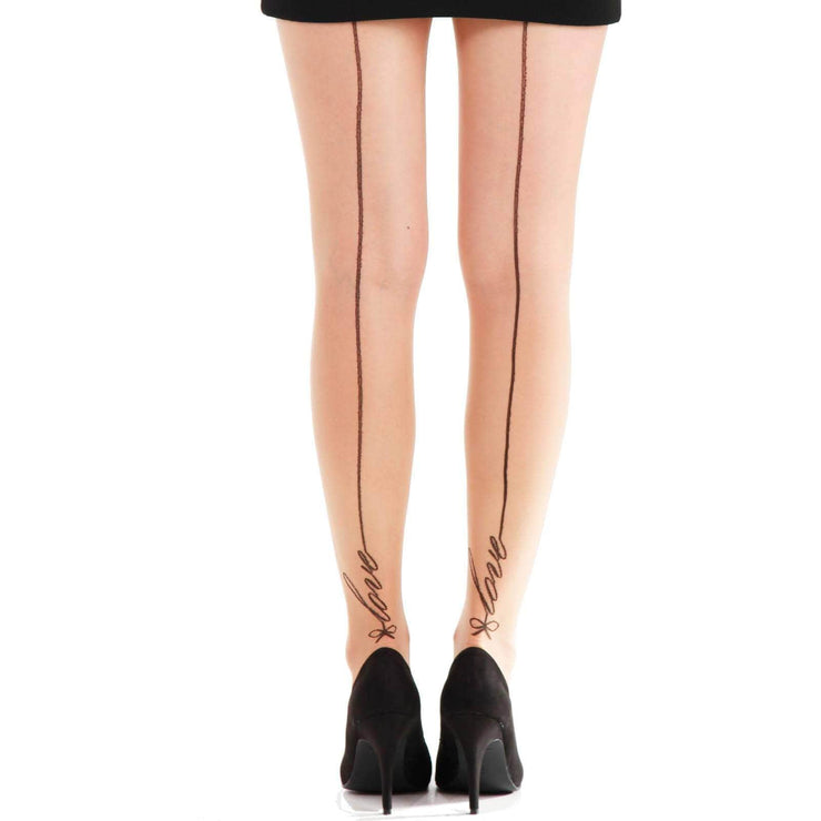 Image of Sheer Seamed Tights  - Natural - Love Signature
