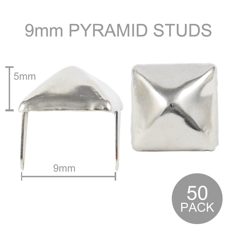 Image of 9mm Wide Pyramid Studs - Silver (Pack of 50)