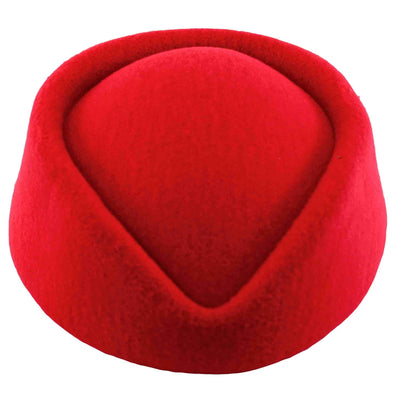 Image of red pillbox hat - front view